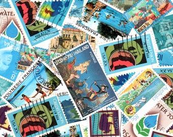 35 Teal Vintage Postage Stamps