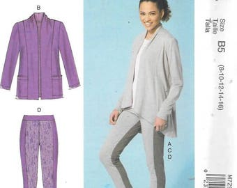 Misses Jacket, Top and Leggings, Sizes 8 Thru 16, New Uncut McCalls Pattern 7294