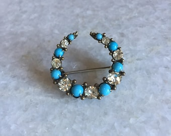Edwardian Turquoise and Clear Paste Crescent Brooch