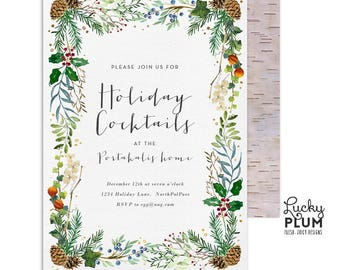 Holiday Party Invitation / Christmas Party Invitation / Christmas Invite /  Deer Christmas Invitation / Rustic Holiday Invite Retro Cocktail