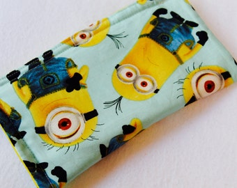 Minion Eyeglass Case, Minion Sunglass Case, Blue Case, Minion Yellow Characters, Lined Glass Case, Kids, Teens Glass Case