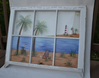 Old Window/Hand Painted Window/Beach Scene Window/ Shabby Chic Decor/ Nautical Window/ Palm Tree/ Coastal Living