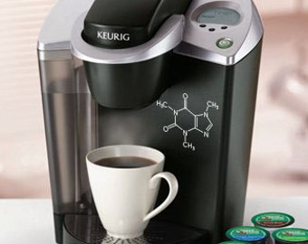 Caffeine Molecule Decal // Car Decal // Laptop Decal // Coffee Maker Decal // Coffee Addict // Coffee Lover // Science Nerd // Molecule //