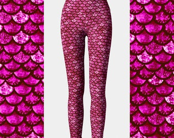 Glitterfish Berry Mermaid Leggings, Dragon Leggings, Glitter Leggings, Yoga Leggings, Workout Leggings, Women's Leggings, Scale Leggings