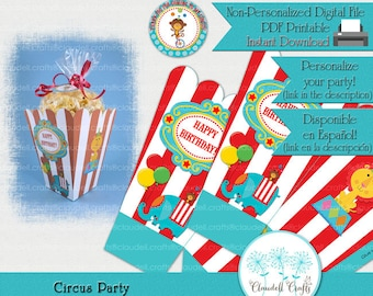 Circus Party Inspired Party Printable Popcorn / Favor Box