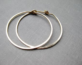 Large Sterling Hoops - Hand Forged, Sterling Hoops, Hammered Hoops, Easy Gift, Solid Sterling