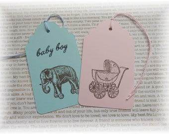 Baby Tags - Buggy - Elephant -  It's a GIRL/BOY - gift/hang tags (10)