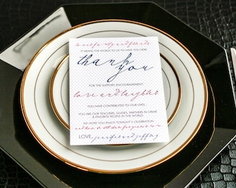 """Navy, Coral and Grey, Reception Thank You Card, Modern Wedding Reception - """"Modern Calligraphy"""" Reception Thank You Sign 5x7 - DEPOSIT"""