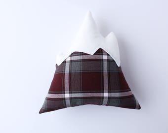 Mountain Pillow // maroon red plaid, decorative pillow, throw pillow, outdoorsy decor, cushion, adventure decor, mountain design