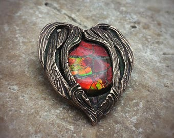 Radiant Red Ammolite and Bronze PMC Pendant! Ready to Ship