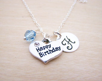 Happy Birthday Charm Swarovski Birthstone Initial Personalized Sterling Silver Necklace / Gift for Her - Birthday Necklace