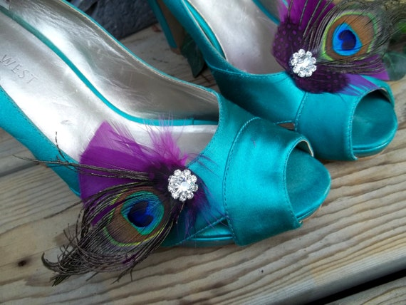 Only Clips Clips Clips Shoe Feather Wedding Shoe Shoe Clips Shoes Clips Clips Bridal Wedding Shoe Shoe Clips Shoe Plum Purple Peacock R7BaPq