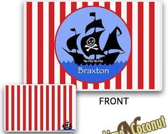 Kids PLACE MAT, Customized Dinnerware PlaceMat, Personalized Place Setting, Pirate Placemat, Tableware Pad, Childrens Pirate Tableware