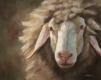"Original Pastel Painting ""Follower"" Sheep 12"" x 16"""
