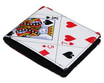 Upcycled Brieftasche, Spielkarten Geschenke Poker Spielergeschenke, spielen Karten Brieftasche, Vegan Herren Geldbörse, Vegan Geldbörse, Vegan freundliche Geschenke für Papa