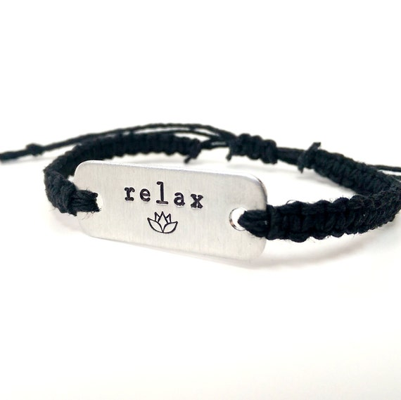 relax with lotus flower stamped bracelet // adjustable hemp bracelet