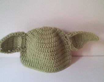 Crochet Yoda hat, baby Yoda hat, newborn Yoda hat, Yoda hat, starwars hat,  ready to ship