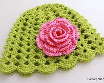 Crochet Baby Hat, Green Hat With Pink Rose, Baby Crochet Gift, Pretty Flower Hat, Baby Girl Gift, Baby Girl Hat, Handmade Hat, Ready to Ship