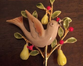 "Vintage signed ""Art"" Enamelled Partridge in a Pear Tree Brooch, Christmas Brooch, 1960's Figural Brooch"