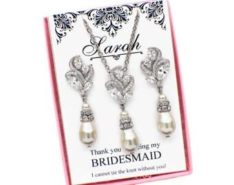 Bridesmaid necklace, bridesmaid earrings, bridesmaid jewelry set, bridal jewelry, wedding jewelry, crystal jewelry set, pearl jewelry set