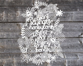 Proverbs 16:24 Pleasant Sayings Are A Honeycomb Scripture Papercut Art