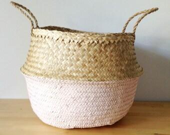 Dipped Salmon Pink Belly Basket Seagrass Panier Boule Large Medium Nursery Storage Planter Picnic Bag Toy Organizer