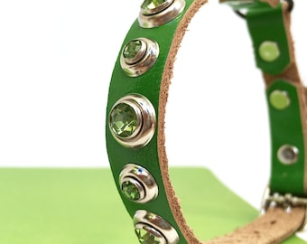 Green Leather Cat Collar w/ Green Rhinestones, Size to fit a 8-10in Neck, Safe Collar for Cats, EcoFriendly Leather, Seattle Handmade, OOAK