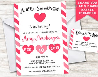 valentine baby shower invitation invite digital hearts sprinkle stripes 5x7 valentines day girl sweetheart