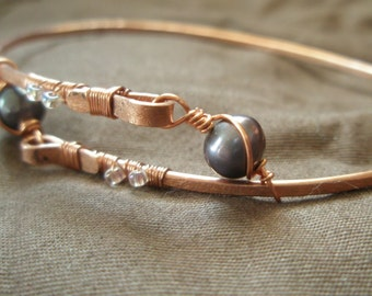 Adjustable Hammered Eco Copper and Peacock Pearl Bangle Bracelet