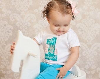 Girls First Birthday Shirt - Girls First Birthday Outfit - First Birthday Girl Shirt - Turquoise and Peach