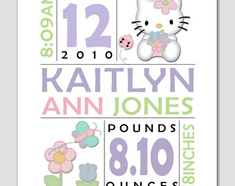 Birth Announcement Print HELLO KITTY 8x10 Baby personalized with your custom info