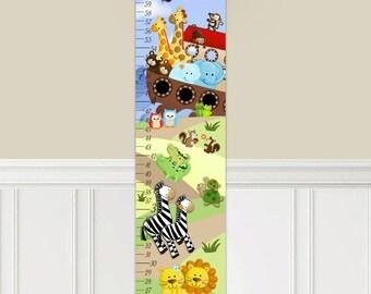 Canvas GROWTH CHART Boys Noah's Ark Animals Bedroom Baby Nursery Wall Art Growth Chart GC0014