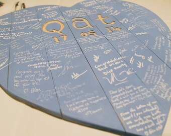 Wooden Heart Shaped Guest Signing Board (Custom)