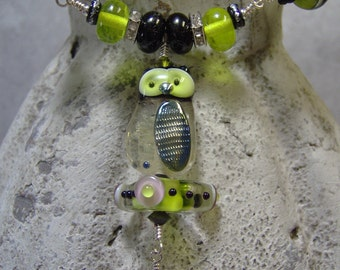 Lampwork Beaded Owl Pendant Necklace-Artisan Lampwork Necklace- Statement Necklace-SRAJD-Wire Wrapped Necklace - Lime Greens and Black