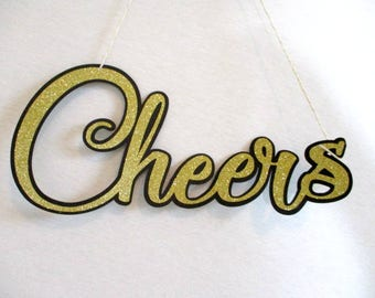Cheers Banner Cheers Sign Gold Glitter Banner Bubbly Bar Banner Champagne Bar Sign Mimosa Bar Sign Hanging Bar Sign