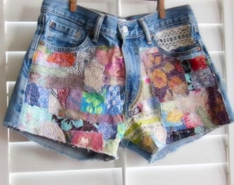 patched denim, up cycled jeans, patchwork, Hippie, Grateful Dead shorts, patched shorts, boho shorts, wearable art, patched jeans