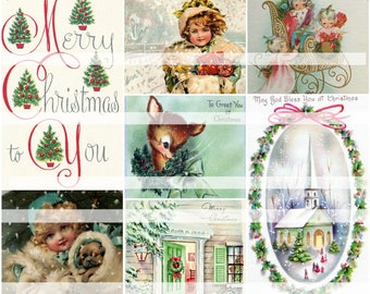Merry Christmas To You, vintage collage sheet (printable, digital download)