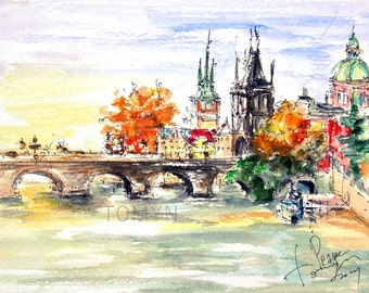 New! PANORAMA PRAGUE PRINT. View of the Charles Bridge. Prague Wall Art. Prague Cityscape Fine Art. Watercolor Print Of Prague.