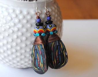 Colorful Abstract Earrings, Artisan Polymer Clay Earrings, Lampwork Glass Bead Earrings, Wire Wrapped Earrings, Funky