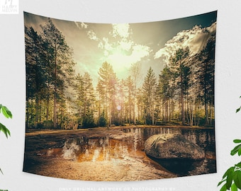 Forest Sunrise Tapestry, Nature Wall Tapestry, Forest Wall Art, Tapestry, Boho Wall Decor, Wanderlust Wall Hanging, Dorm Decor, Wall Art