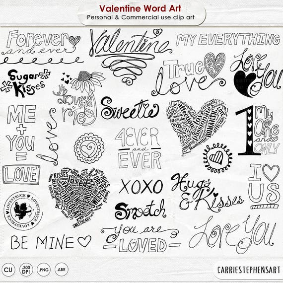 Valentine Word Art Valentine Doodles Love Quotes & Sayings