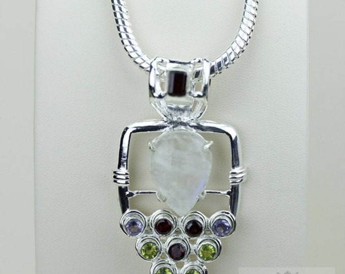 True ONE of a KIND! Blue Moonstone 925 S0LID Sterling Silver Pendant + 4MM Snake Chain & Free Worldwide Shipping P3454