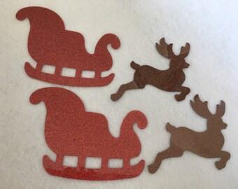 Glitter Reindeer Sleigh-Iron-On Appliques-Christmas Cards-Glitter Heat Transfer-Iron-On Vinyl Applique-Reindeer-Sleigh-DIY Christmas Craft