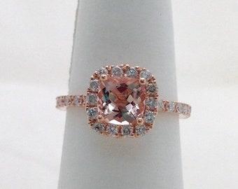 Rose Gold Morganite Wedding Ring Bridal Set Cushion Cut Diamond Halo with Matching Band
