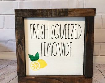 fresh squeezed lemonade wooden sign