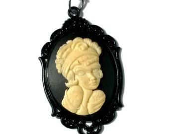 Flapper Girl Cameo Necklace Black Gothic Handmade Gift