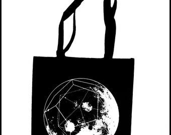 GeoMoon Tote Bag  Screen Print Black Sacred Geometry Dodecahedron Moon