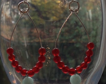 Carnelian and Turquoise Blue Quartz Earrings