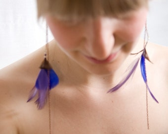 Colorful Peacock inspired feather earrings - Juliette Statement Feather Earrings 045