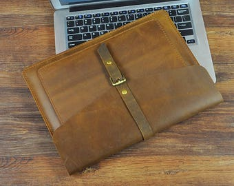 Dell XPS 13 case, laptop case for him, beige laptop case, Macbook Pro sleeve, 13 inch laptop case  Personalized Leather Laptop Cover